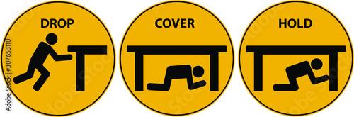 Drop, cover, hold sign. Earthquake vector icon. Fototapeta