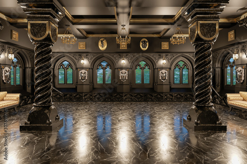Carta da parati 3d rendering of the hall in classical style