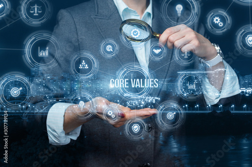 Valokuvatapetti Search of core values in business.