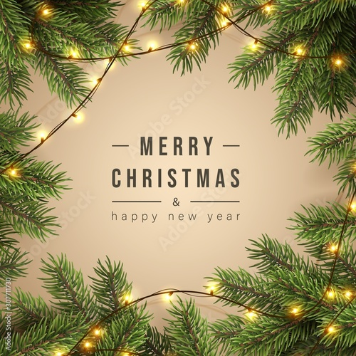 Tablou Canvas Merry Christmas greeting banner with Chrirstmas decor fir twigs and confetti, vector illustration