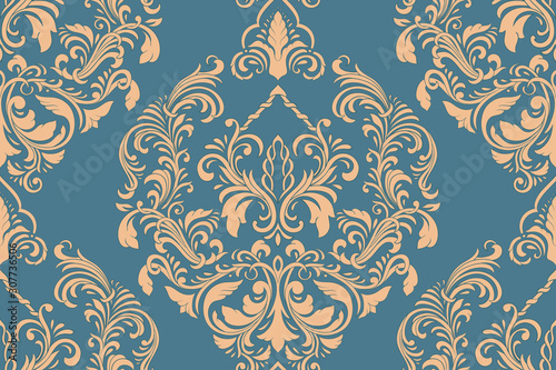 Fototapeta Vector damask seamless pattern element