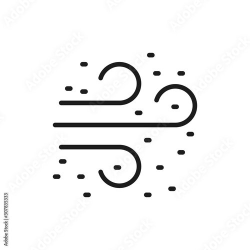 Vászonkép Smell, air pollution flat color line icon