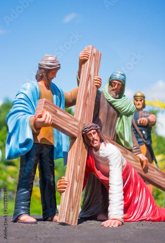 Jesus Christ Falls while Carrying His Cross Fototapeta