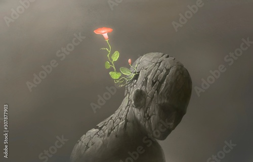 Fotografia Life and freedom and hope concept , Imagination of surreal scene flower with bro
