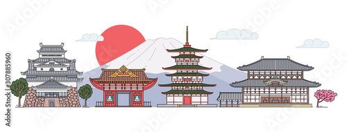 Fotografie, Obraz Ancient Japan architecture landscape - flat banner with Japanese pagoda temples
