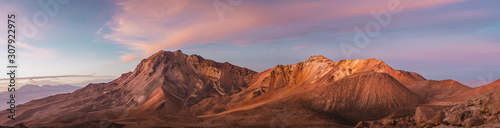 Panoramic Mountain landscape with orange sunset Fototapeta