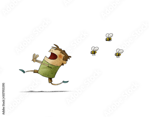 Stampa su Tela Child runs scared because three bees chase him. isolated