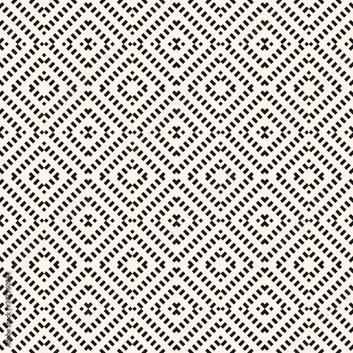 Vector geometric seamless pattern. Black and white abstract graphic background with diagonal lines, squares, small rhombuses. Repeat monochrome ethnic texture. Design for decor, textile, furniture