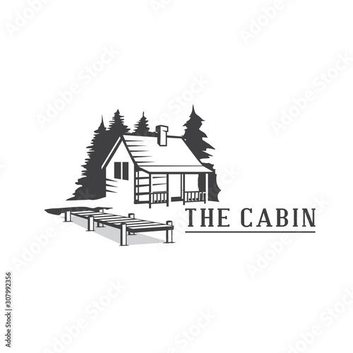 Slika na platnu Cabin Wood Logo, Cabin Resort Logo