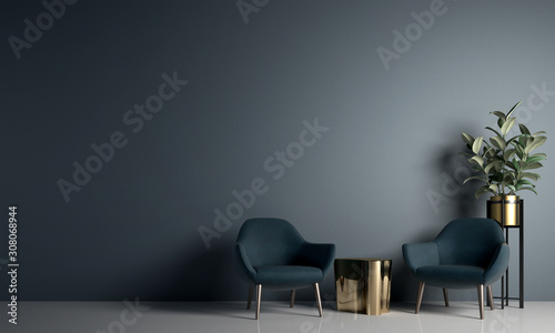 Modern cozy living room and blue wall texture background interior design / 3D rendering
