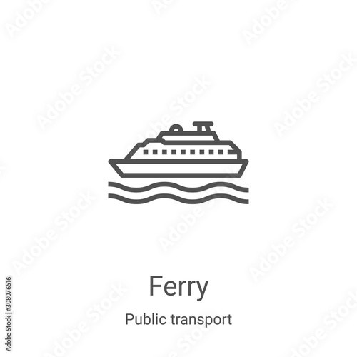 Wallpaper Mural ferry icon vector from public transport collection