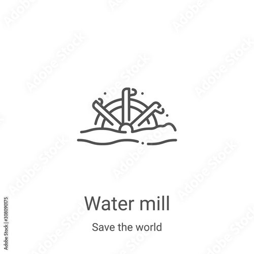 Fotografia water mill icon vector from save the world collection