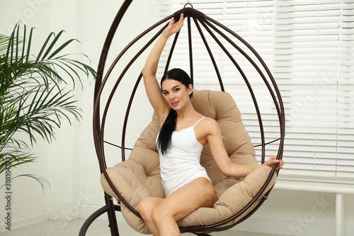 Fotografia, Obraz Beautiful young woman in white underwear at home