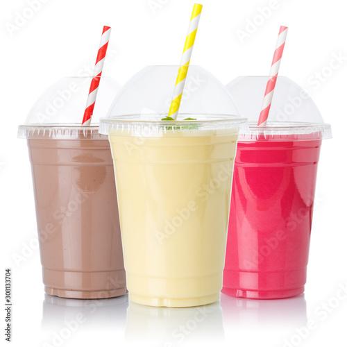 Canvas Print Chocolate vanilla strawberry milk shake milkshake collection straw in a cup isol