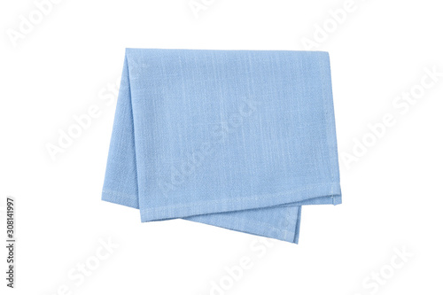 Murais de parede Blue napkin isolated on white background.