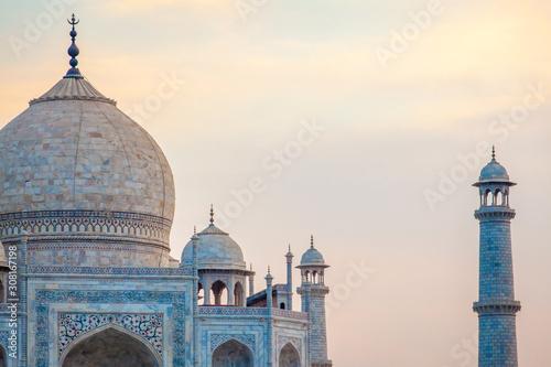 Wallpaper Mural Sunset over the wonderful Taj Mahal, in Agra, one of the seven world wonder