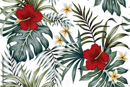 Carta da parati Tropical vintage hibiscus plumeria floral green leaves seamless pattern white background