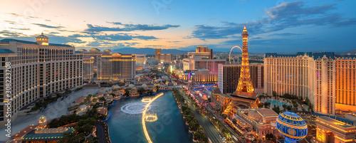 Panoramic view of Las Vegas strip at sunset