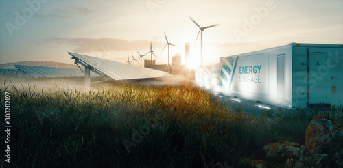 Valokuva Smart grid renewable energy system solution for future smart cities at sunset