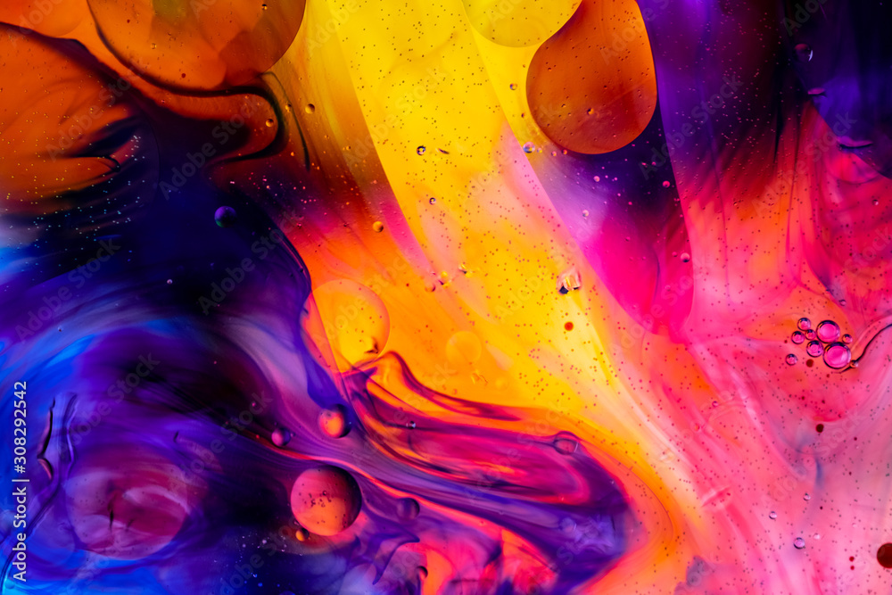 Abstract colorful background. Oil and water drops. Rainbow blurred texture. 3d render illustration