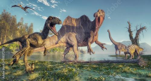 Billede på lærred Spinosaurus and deinonychus