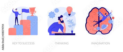 Creative entrepreneurship icons set. Business growth, creative planning, innovative development. Key to success, thinking, imagination metaphors. Vector isolated concept metaphor illustrations