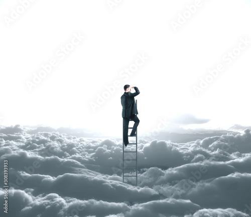 Fotografie, Obraz Businessman looking to cloud