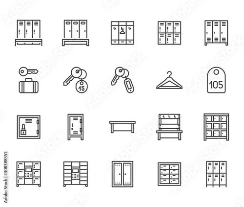 Fotografie, Obraz Locker room flat line icons set