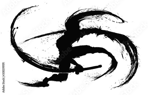 Photo Silhouette of a ninja with two swords making circular cuts around himself leaving ink splashes