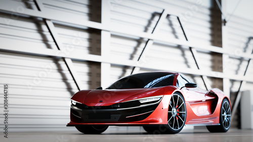 New fast supercar. Sports car in warehouse.