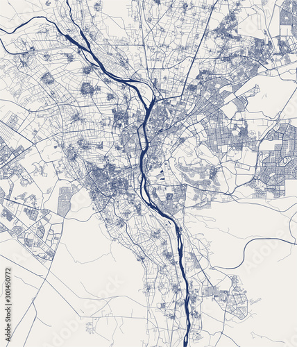 Photo map of the city of Cairo, Giza, Egypt