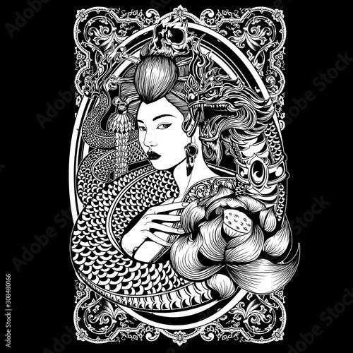 Canvas-taulu .art, beauty, black, character, clip art, culture, design, female, geisha, girl,