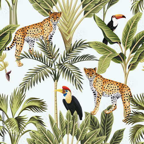 Tropical vintage banana tree, palm tree, leopard animal, toucan, parrot floral seamless pattern white background Fototapeta