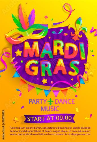 Fotografia Mardi gras flyer with inviting for carnival party