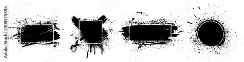 Obraz na plátně Black splashes grunge with frame