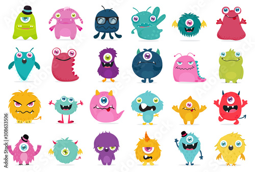 Canvas Print Cute and Kawaii monster kids icon set.