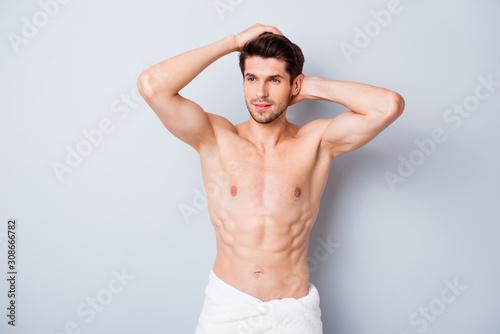 Fényképezés Portrait of masculine brutal macho man visit barbershop hairstylist touch silky
