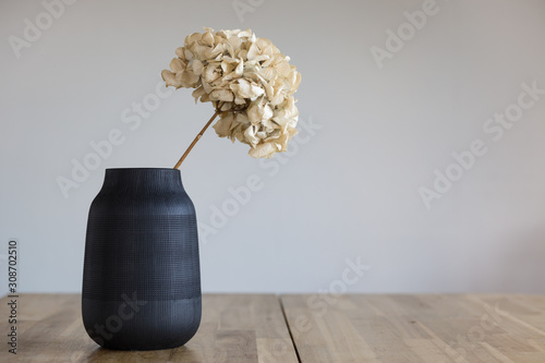 Fényképezés A black ceramic vase with a dried hydrangea flower stands on a wooden surface