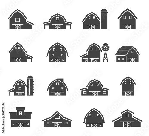 Obraz na plátně Rural barn building silhouettes glyph icons set