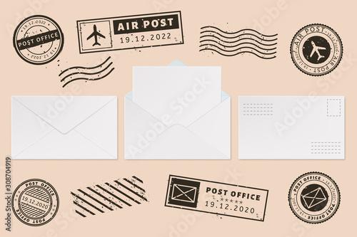 Envelope template with stamp label Fototapeta