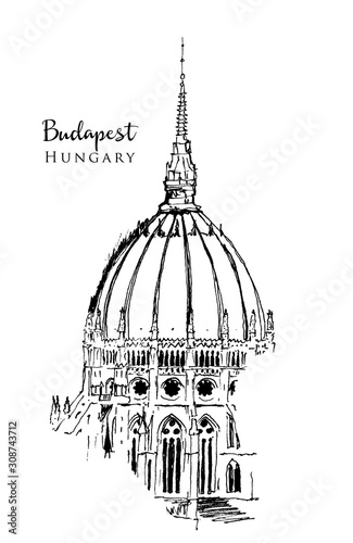 Foto Drawing sketch illustration of the dome of Hungarian Parliament building