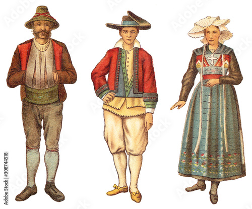 Fotografering Historical fashion - farmer from Tyrol - Austria (left) and man with woman from