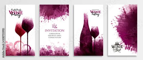 Obraz na plátně Templates with wine designs