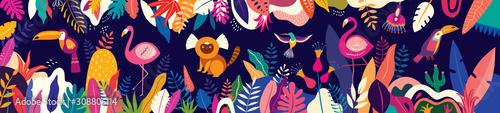 Fototapeta premium Kolorowa ilustracja wektorowa z tropikalnych kwiatów, liści, małpy, flaminga i ptaków. Brazylia tropikalny wzór.