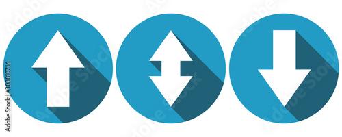 Fotografija Symbols for arrow up, arrow down and bidirectional arrow