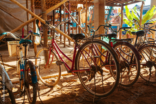 Obraz na plátně Classic vintage Bicycles in Cambodian Floating Village near Tonle Sap Lake