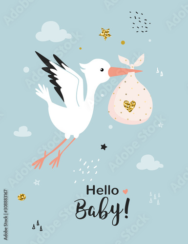 Photo Baby shower card with stork