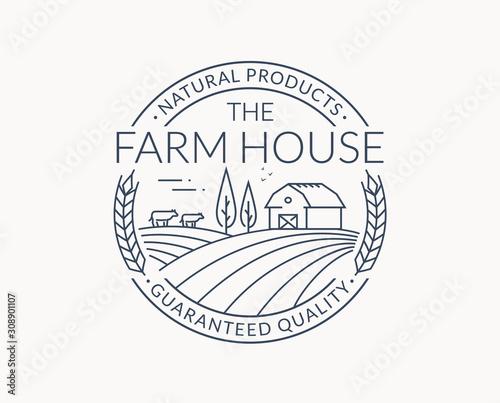 Carta da parati Farm emblem with farmhouse, wheat ear and cows.