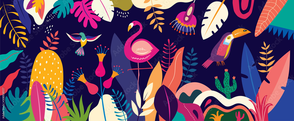 Vector colorful illustration with tropical flowers, leaves, flamingo and birds. Brazil tropical pattern. <span>plik: #308938557 | autor: moleskostudio</span>