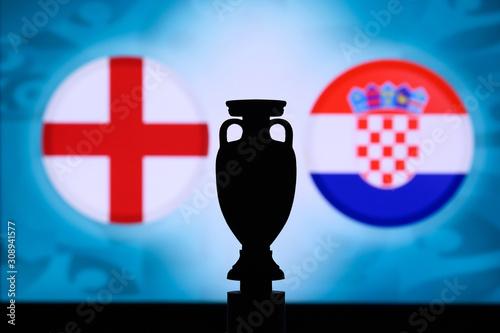 фотография England vs Croatia, Euro National flags and football trophy silhouette